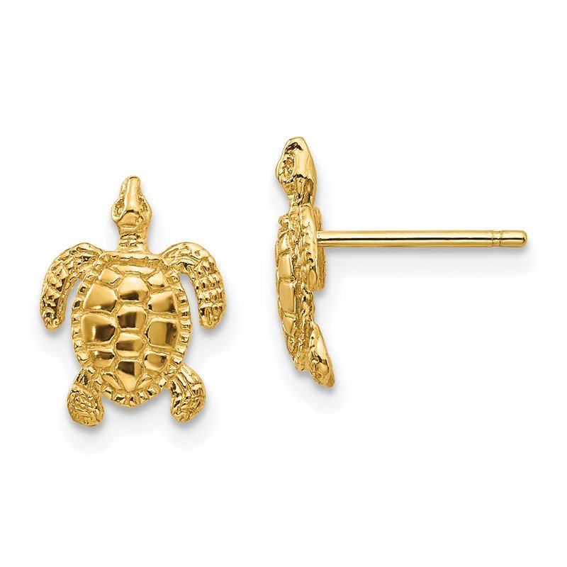 Quality Gold 14k Sea Turtle Post Earrings