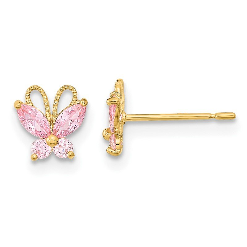 Quality Gold 14k Madi K Kids Pink CZ Butterfly Post Earings