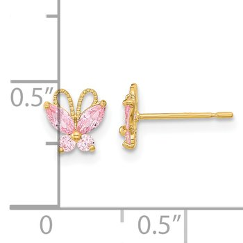 14k Madi K Kids Pink CZ Butterfly Post Earings