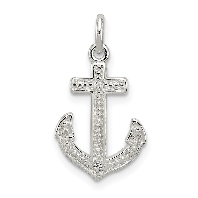 Quality Gold Sterling Silver Polished CZ Anchor Pendant