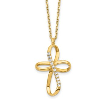 14K Ribbon Cross CZ Slide with 2IN EXT Necklace