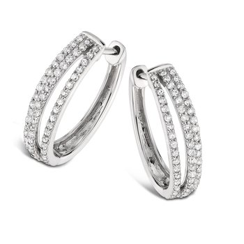 Pave Set set Diamond Triple Hoop Earrings in 14k White Gold (3/4 ct. tw.) JK/I1
