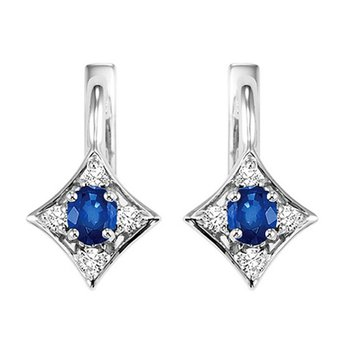 14K Sapphire & Diamond Earrings