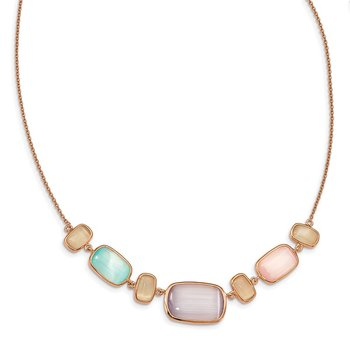 Sterling Silver Rose-tone Created Multicolor Cats Eye w/1in ext Necklace