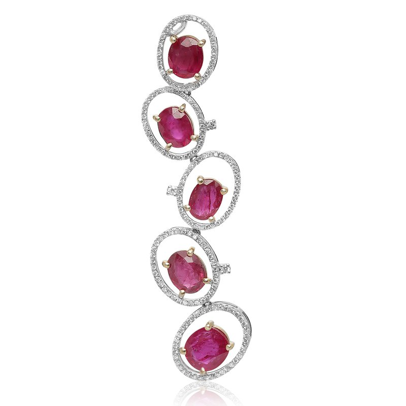 Roman & Jules Layered Ruby & Diamond Earrings