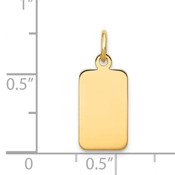 14k Plain .009 Gauge Engravable Rectangular Disc Charm