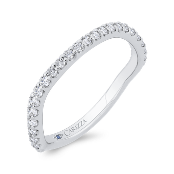 18K White Gold 3/4 Run Round Diamond Wedding Band
