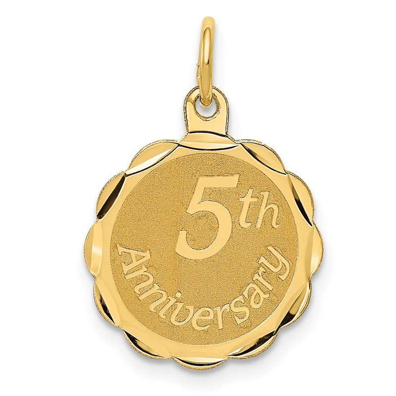 Quality Gold 14K Happy 5th ANNIVERSARY Charm