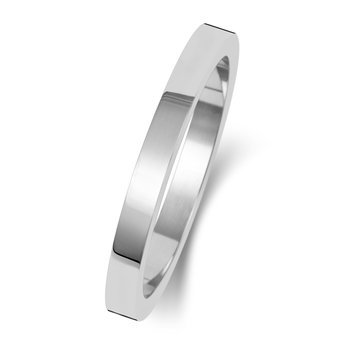 9Ct White Gold 2mm Flat Flat Wedding Ring