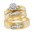 Gold-N-Diamonds, Inc. (Atlanta) 10kt Yellow Gold His & Hers Round Diamond Cluster Matching Bridal Wedding Ring Band Set 1/2 Cttw