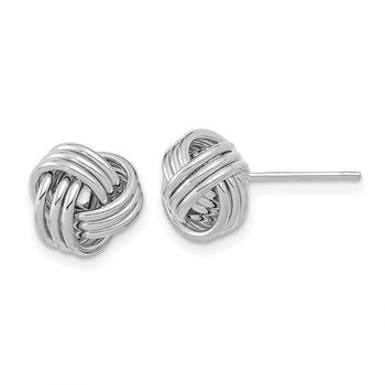 14k White Gold Polished Triple Love Knot Post Earrings