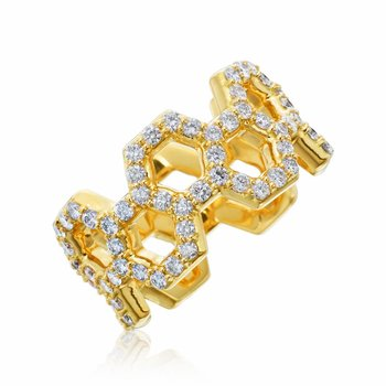 "Honeybee ""B"" Diamond Pavé Honeycomb Outline Ring R883G"