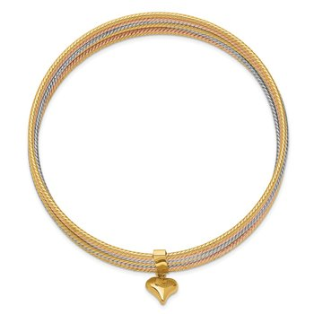 14K Tri-color w/ Dangle Heart Oversized Set of 7 Textured Slip-on Bangles