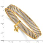 Quality Gold 14K Tri-color w/ Dangle Heart Oversized Set of 7 Textured Slip-on Bangles