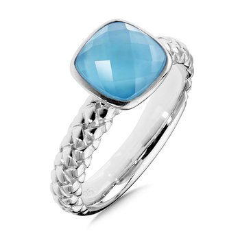Sterling Silver Dyed Blue Mother of Pearl Fusion Stacking Ring