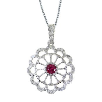 14k White Gold Ruby and .05 ct Diamond Wheel Pendant