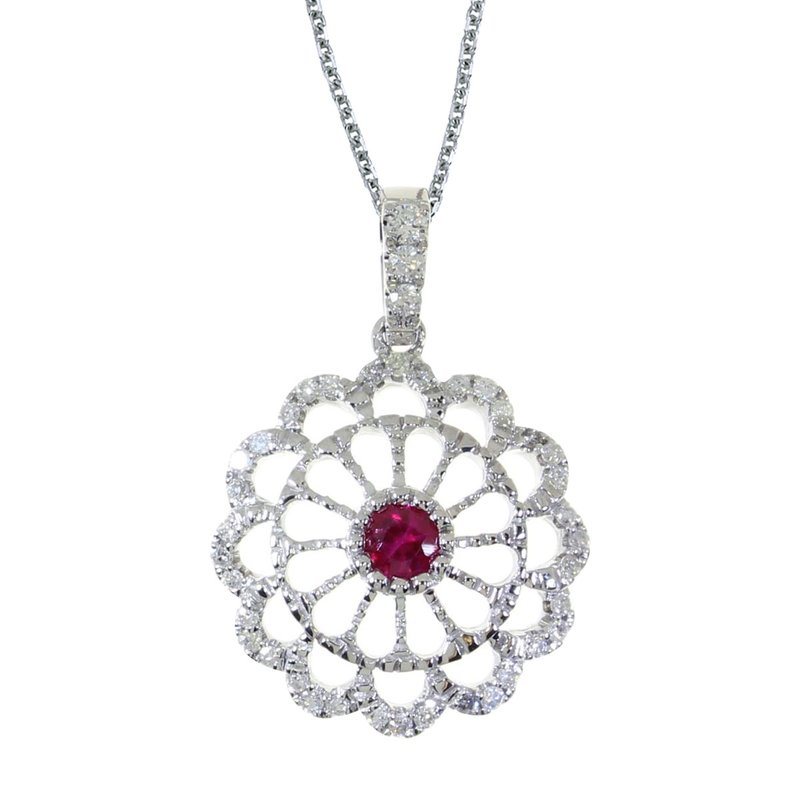 Color Merchants 14k White Gold Ruby and .05 ct Diamond Wheel Pendant