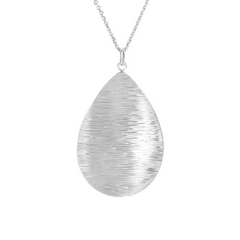 Silver Brushed Pear Drop Necklace