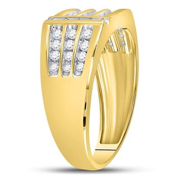 14kt Yellow Gold Mens Round Diamond Triple Row Intersecting Fashion Ring 1/2 Cttw