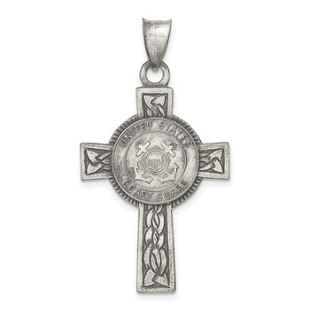 Sterling Silver US Coast Guard Cross Pendant
