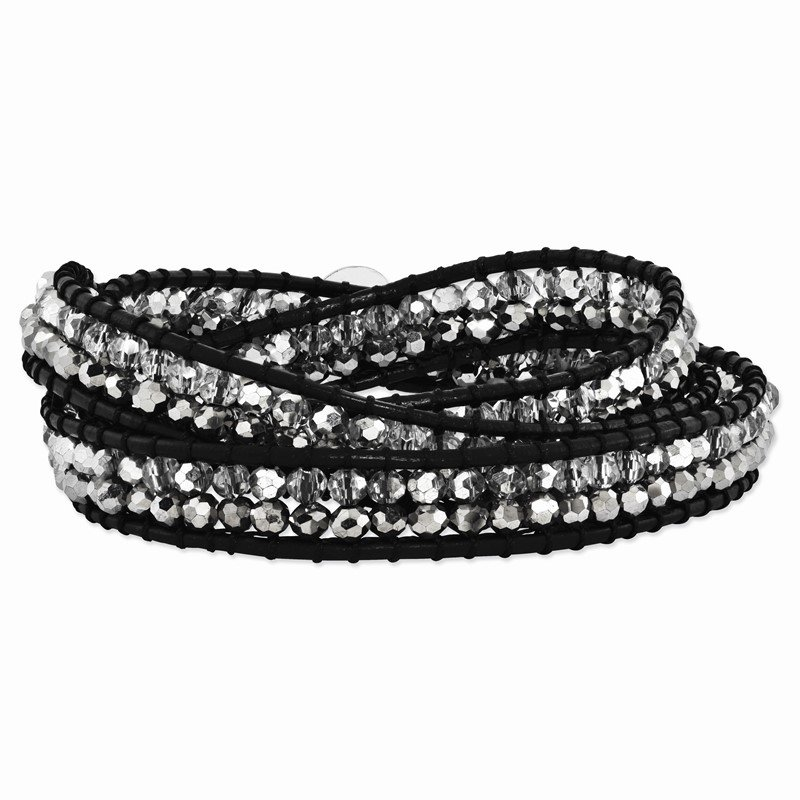 Quality Gold Grey and Clear Crystal Bead and Leather Multi-wrap Bracelet