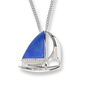 Blue Sailboat Necklace.Sterling Silver