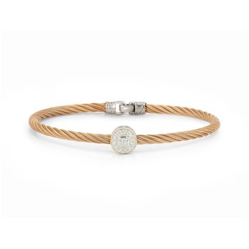 Rose Cable Essential Stackable Bracelet with Single Large Round Diamond station set in 18kt White & Yellow Gold