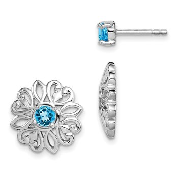 Sterling Silver Rhodium-plated w/Blue Topaz Stud Earring w/Jacket