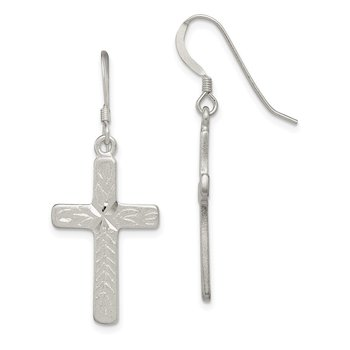 Sterling Silver Cross Shepherd Hook Earrings