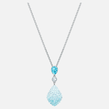 Fun Pendant, Aqua, Rhodium plated