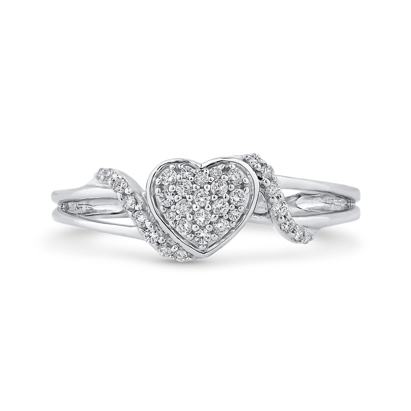 Essentials 10K White Gold 1/5 ct Round Diamond Fashion Heart Ring