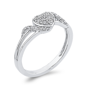 10K White Gold 1/5 ct Round Diamond Fashion Heart Ring