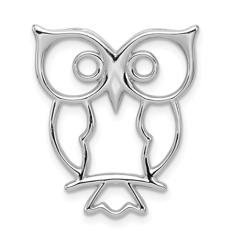 Quality Gold Sterling Silver Rhodium-plated Owl Chain Slide