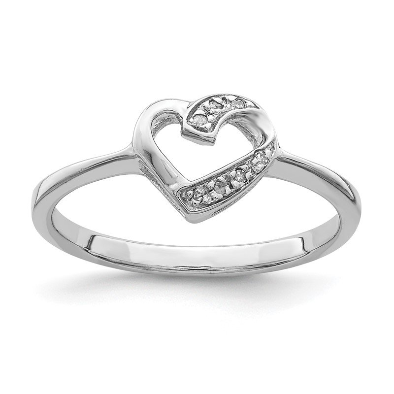 Quality Gold Sterling Silver Rhodium Polished Diamond Heart Ring