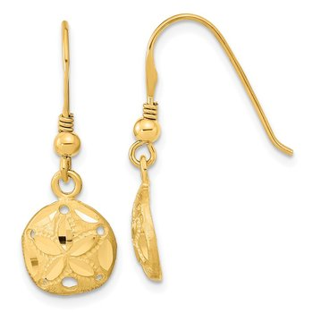 14k Polished & Satin Diamond-cut Sand Dollar Shepherd Hook Earrings