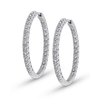 Diamond Inside Outside Hoop Earrings in 14k White Gold with 50 Diamonds weighing .50ct tw.