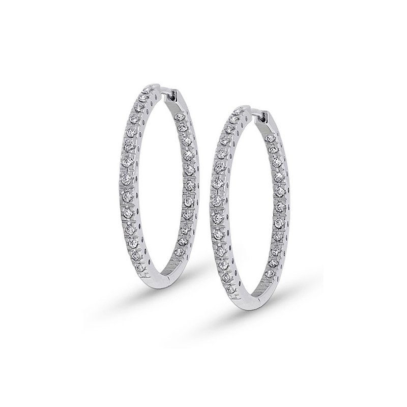 KC Designs Diamond Inside Outside Hoop Earrings in 14k White Gold with 50 Diamonds weighing .50ct tw.