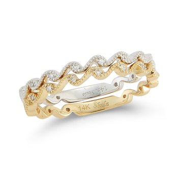 14K 2 tone double band 14 Diamonds 0.06C
