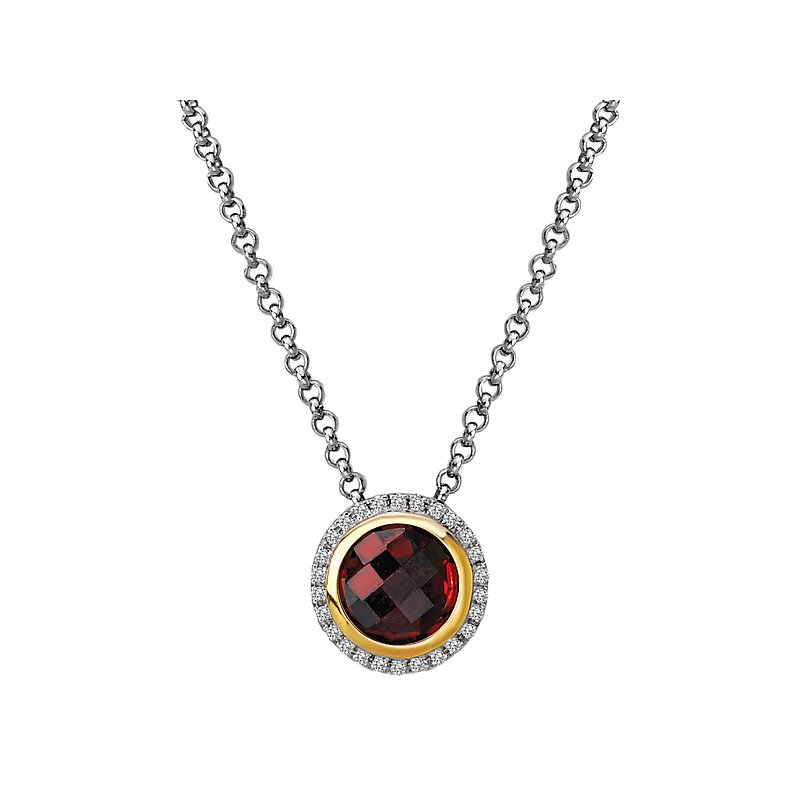 Eleganza Diamond and Gemstone Halo Pendant