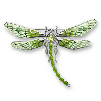 Green Dragonfly Brooch-Pendant.Sterling Silver-White Sapphires and Peridot - Plique-a-Jour