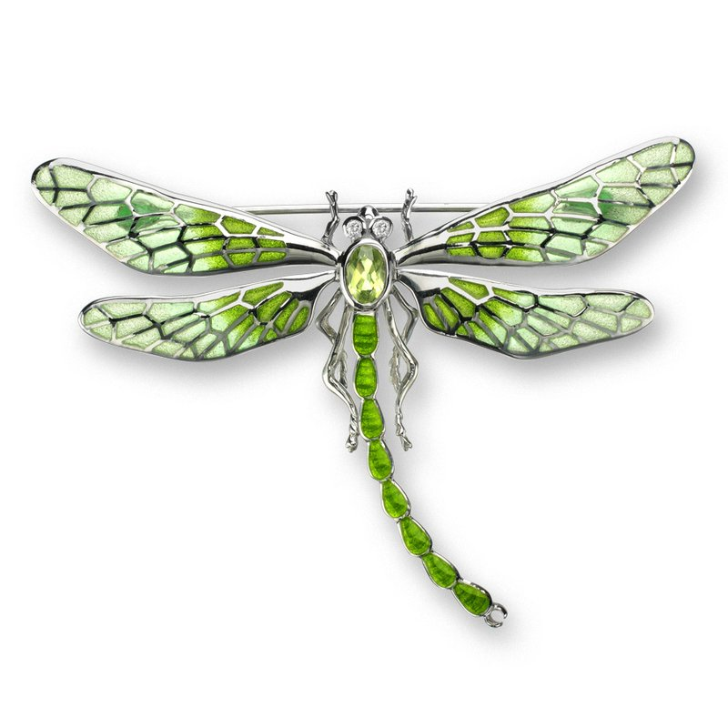 Nicole Barr Designs Green Dragonfly Brooch-Pendant.Sterling Silver-White Sapphires and Peridot - Plique-a-Jour