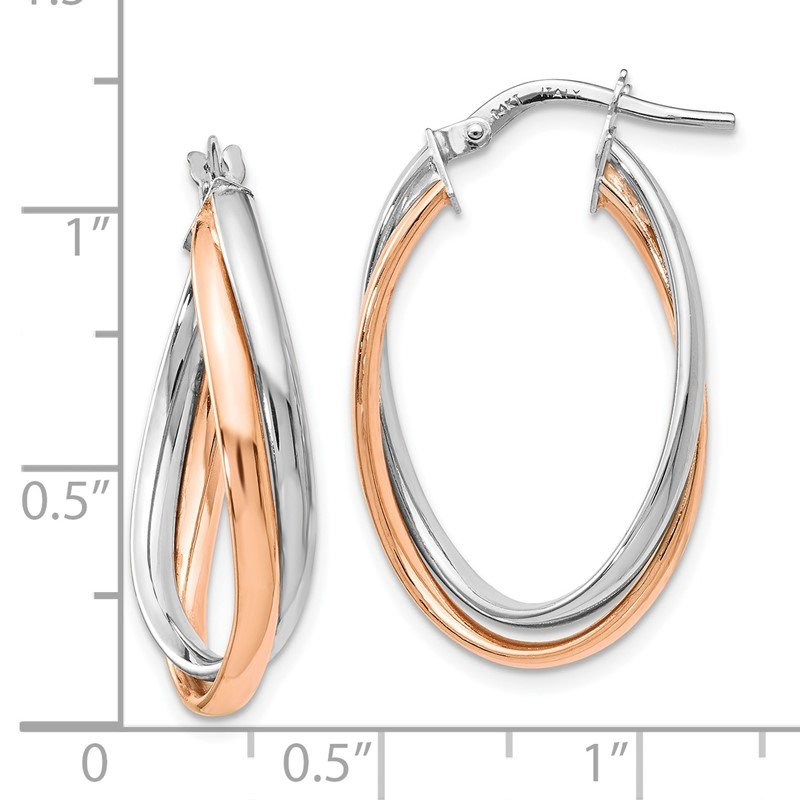 Leslie's Leslie's 14K Rose and White Gold Polished Fancy Hoop Earrings