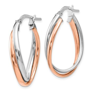 Leslie's 14K Rose and White Gold Polished Fancy Hoop Earrings