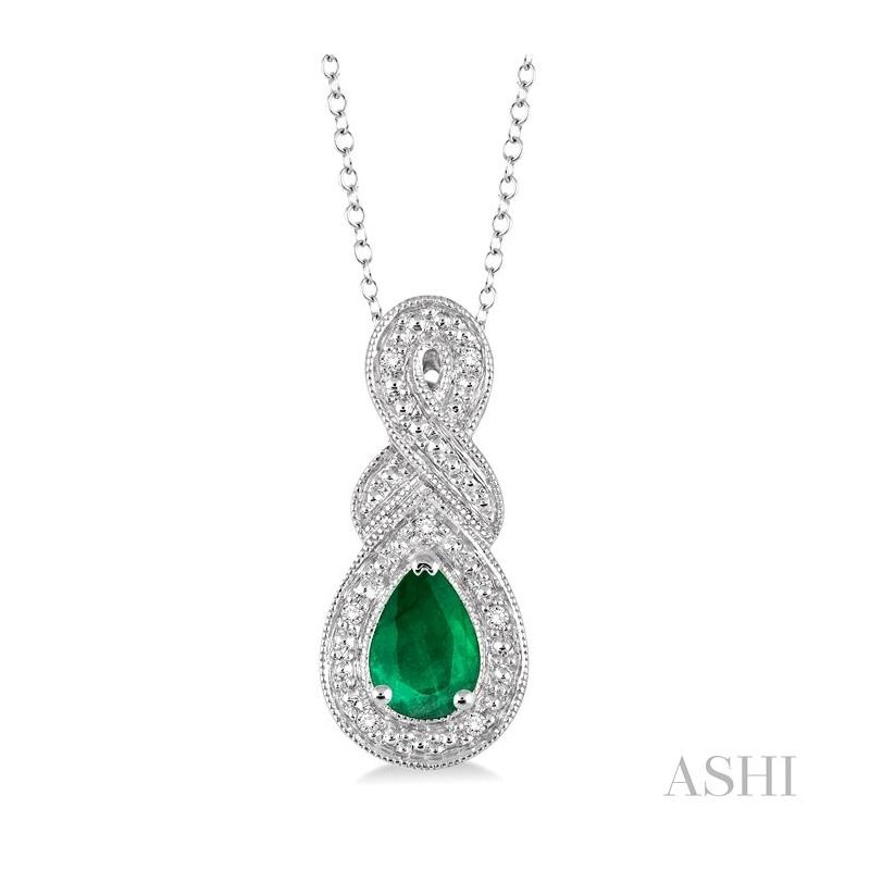 ASHI pear shape silver gemstone & diamond pendant