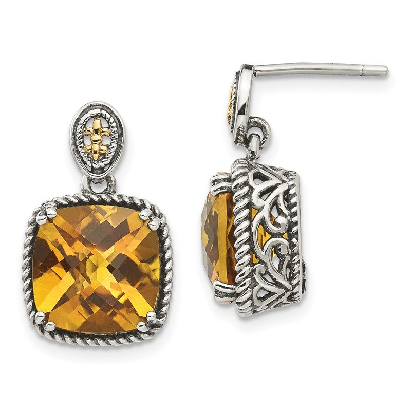 Quality Gold Sterling Silver w/14k Citrine Dangle Post Earrings