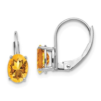 14k White Gold 7x5mm Citrine Earrings