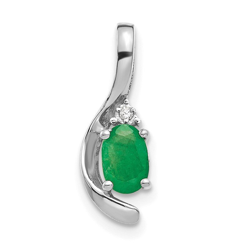Quality Gold 14k White Gold Emerald and Diamond Pendant