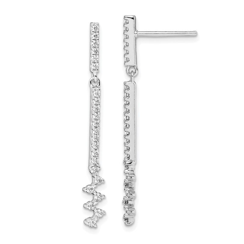 Quality Gold Sterling Silver Rhodium Plated CZ Dangle Earrings