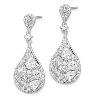 Sterling Silver Rhodium-plated CZ Teardrop Dangle Post Earrings
