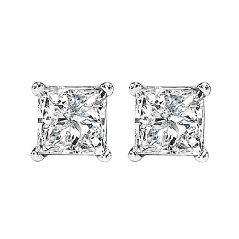 Gemsone 14K P/Cut Diamond Studs 1 1/5 ctw P1